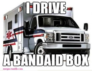 I drive a bandaid box